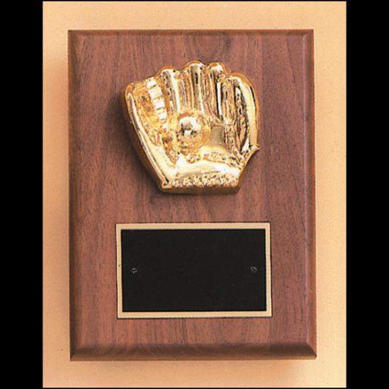 Baseball casting solid walnut plaque