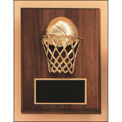 Basketball casting solid walnut plaque