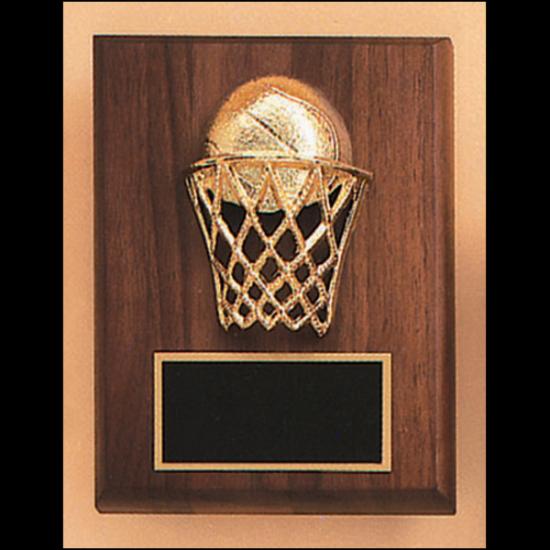 Basketball casting solid walnut plaque