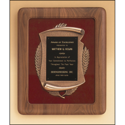 Solid american walnut Airflyte frame with a furniture finish and an antique bronze finish casting on choice of velour backgrounds.