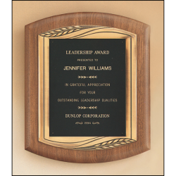 merican walnut plaque with furniture finish and an antique bronze finish frame casting.