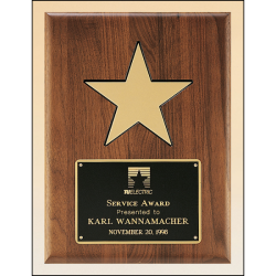 Solid American walnut plaque with black recessed area and gold aluminum star.