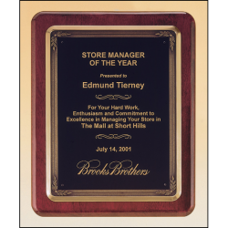 Rosewood stained piano finish plaque with antique bronze plated metal frame casting