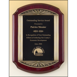 Rosewood stained piano finish plaque with an antique bronze finished frame casting and black brass engraving plate.