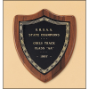 American walnut plaque with a black brass plate
