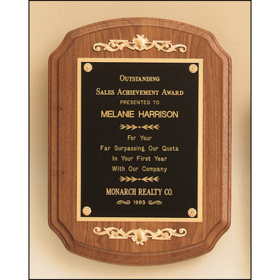 American walnut plaque with casting accents
