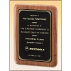 Solid American walnut plaque with a precision elliptical edge and a black or brushed brass plate with printed border