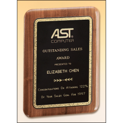 Solid American walnut plaque with a precision elliptical edge and a black brass plate with gold florentine border