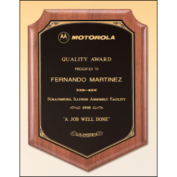 Solid American walnut plaque with a black brass plate with printed border