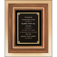 Solid American walnut framed plaque with gold trim and choice of velour background