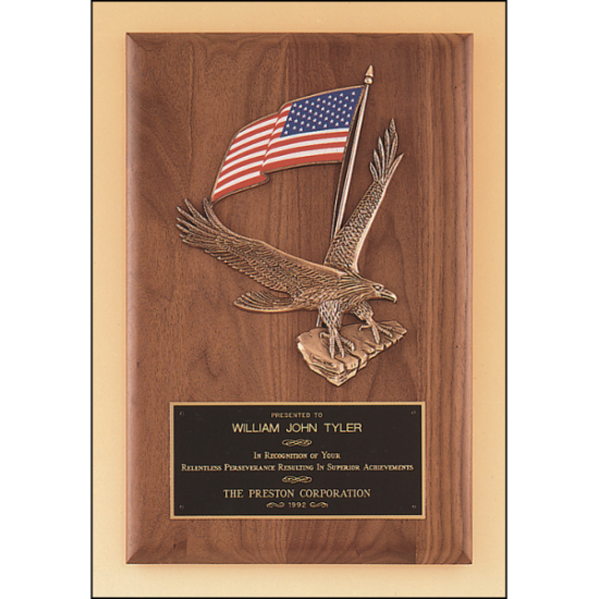 Solid American walnut Airflyte plaque with a large eagle and American flag casting