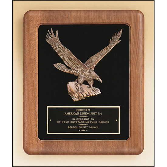 American walnut Airflyte frame with a sculptured relief eagle casting on a black velour background.