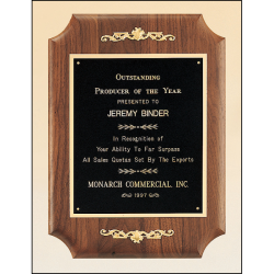 Solid American walnut plaque with furniture finish and casting accents