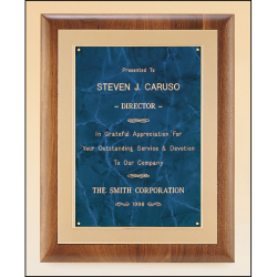 Solid American walnut plaque with a frost gold back plate with bright gold embossed frame available in 3 marble finishes