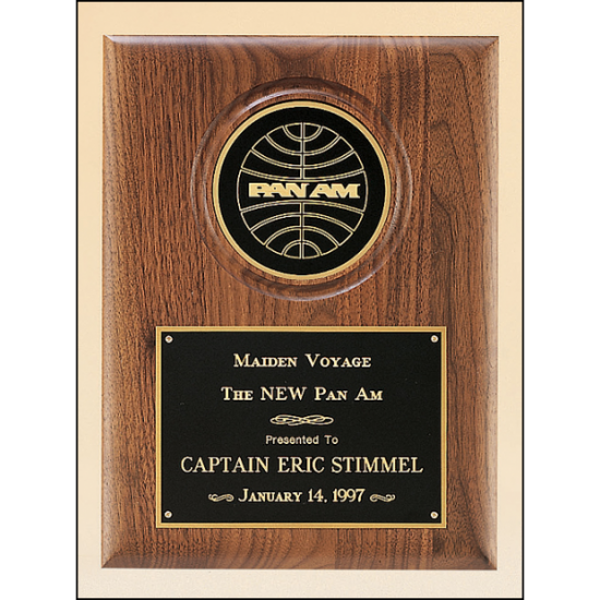"""Solid American walnut plaque with furniture finish and a 4"""" diameter engraving disc"""