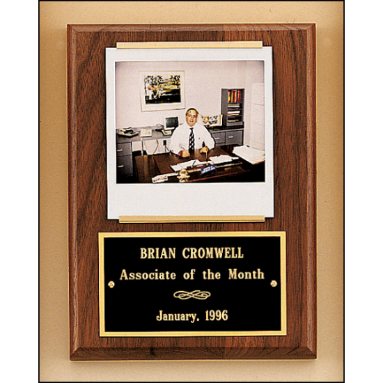 Solid American walnut Airflyte plaque with 1 plate and photograph holder