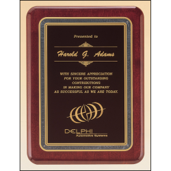 Rosewood stained piano finish plaque with black florentine border and black textured center