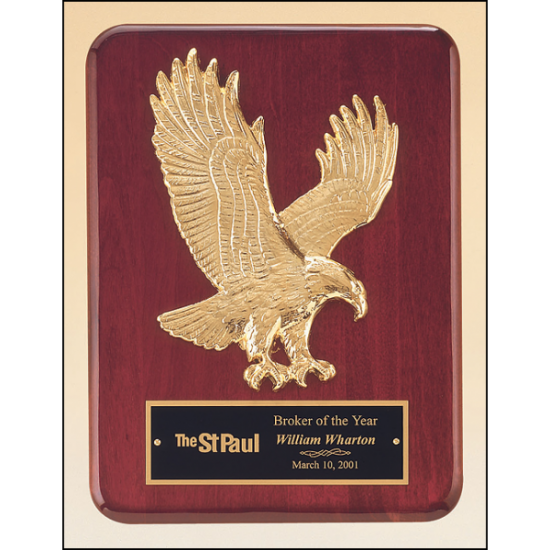 Rosewood stained piano finish Airflyte plaque with goldtone finish sculptured relief eagle casting
