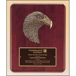 Rosewood stained piano finish Airflyte plaque with antique bronze finish finely detailed eagle casting