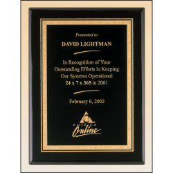 Black stained piano finish plaque with a black textured center plate and florentine border