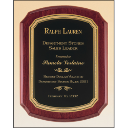 Rosewood stained piano finish plaque with a black textured center plate and florentine border