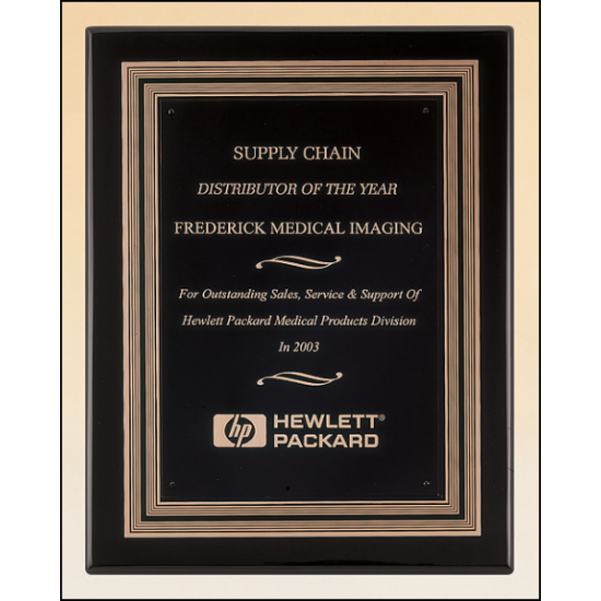 Black stained piano finish plaque with a black and gold embossed back plate and black brass engraving plate