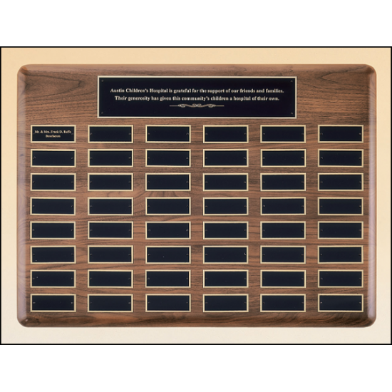 Solid American walnut Airflyte perpetual plaque with extra large plates