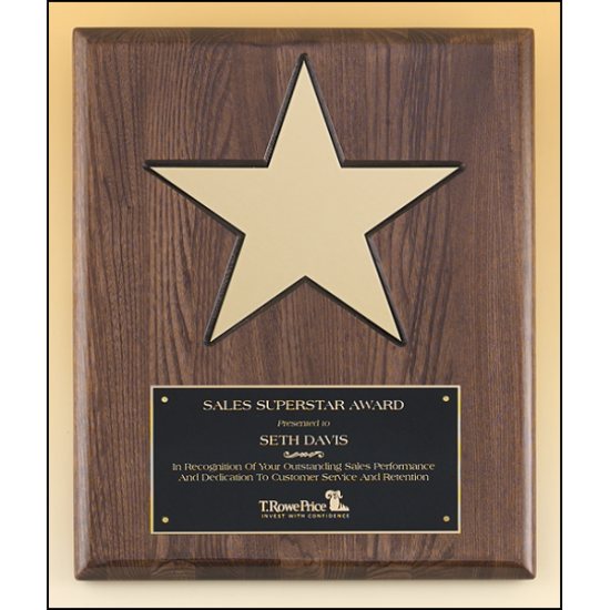 """Gold aluminum star (8"""") on walnut stained  piano-finish board with black recessed area"""