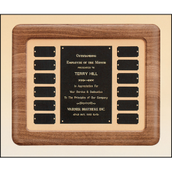 Solid American walnut Airflyte frame perpetual plaque Tan velour background
