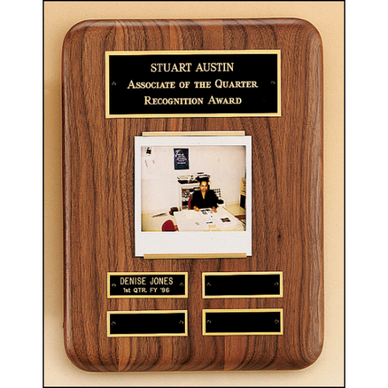 Solid American walnut perpetual plaque with photograph holder