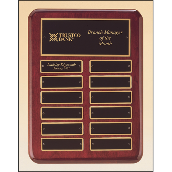 Rosewood stained piano finish perpetual plaque