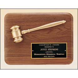 American walnut plaque with an antique bronze gavel casting.