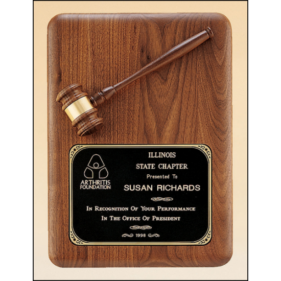 American walnut plaque with walnut gavel.