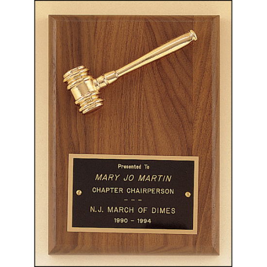 American walnut plaque with a goldtone metal gavel.
