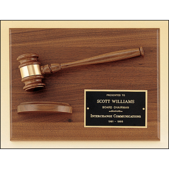 American walnut plaque with walnut gavel.